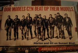 Many years later this publicity poster shot appeared on a billboard on Sunset Blvd. Gil is just to the right of Marlon in the middle.
