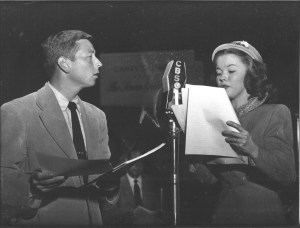 Early Pioneer radio publicity shot with a now all grown up Shirley Temple!