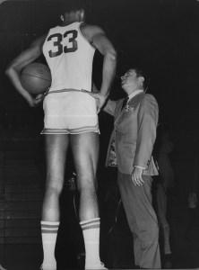 Gil interviewing basketball legend Kareem Abdul-Jabbar born Ferdinand Lewis Alcindor Jr at UCLA
