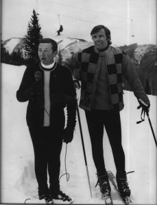 On the slopes of the Alps for the 1960 Winter Olympics in Rome, Italy interviewing Jean Claude Keely aka Gilette.