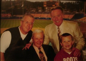 Gil Stratton, family and Vin Skully, American sportscaster, best known as the play-by-play announcer for the Los Angeles Dodgers MLB team.