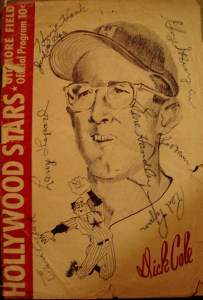 Hollywood All Stars baseball program featuring a cover image of Dick Cole and signed by numerous all stars.