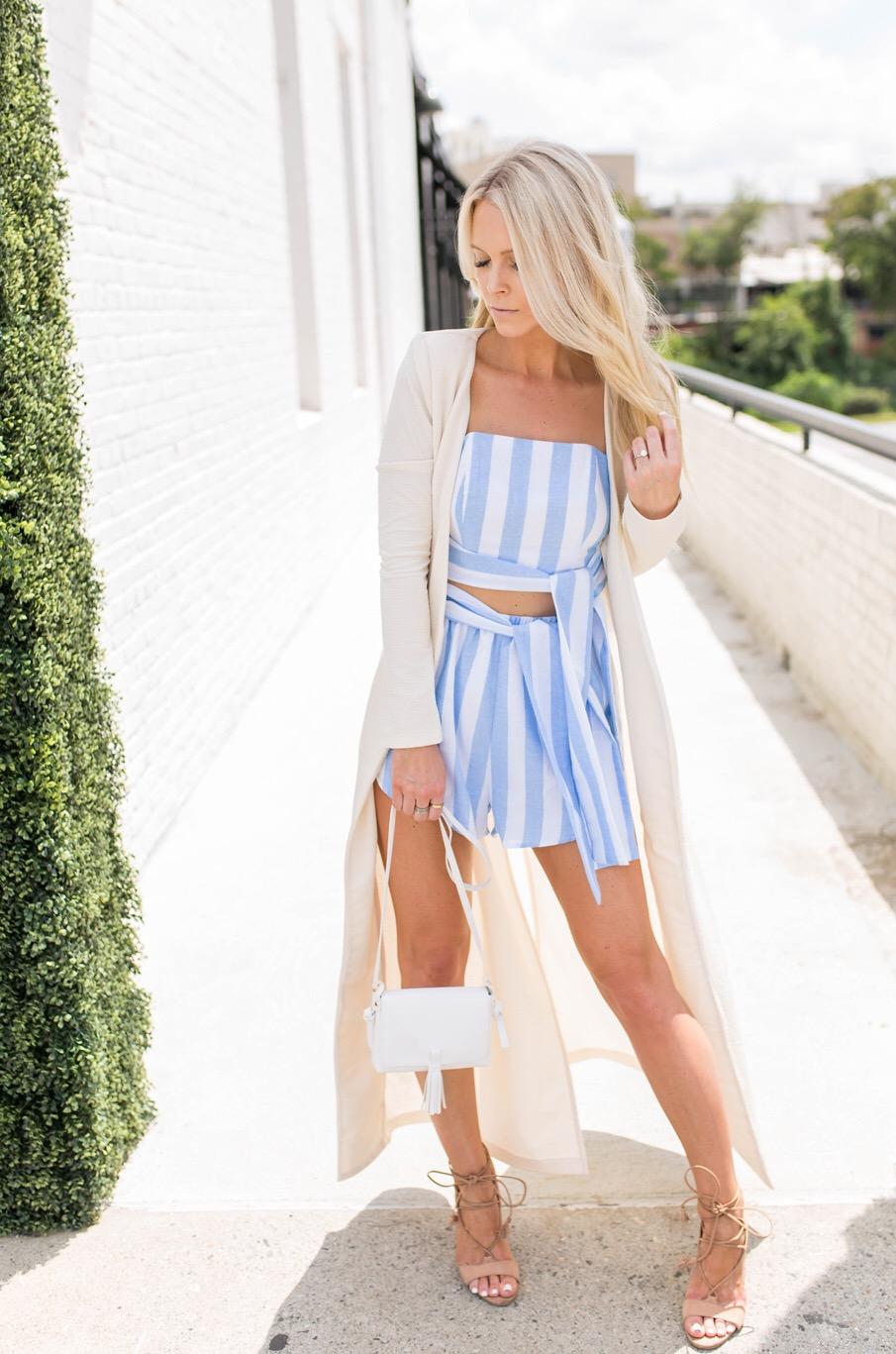 blue striped set sabo skirt