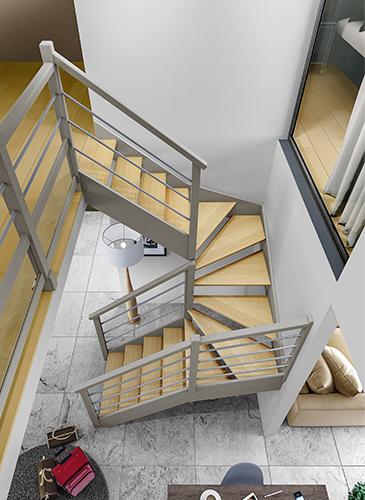escalier quart tournant haut et bas