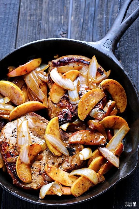 Apple Cinnamon Pork Chops Recipe | gimmesomeoven.com #glutenfree