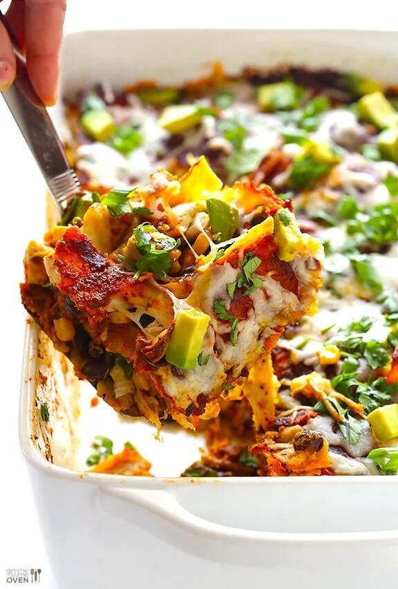 Chicken Enchilada Casserole | gimmesomeoven.com #glutenfree