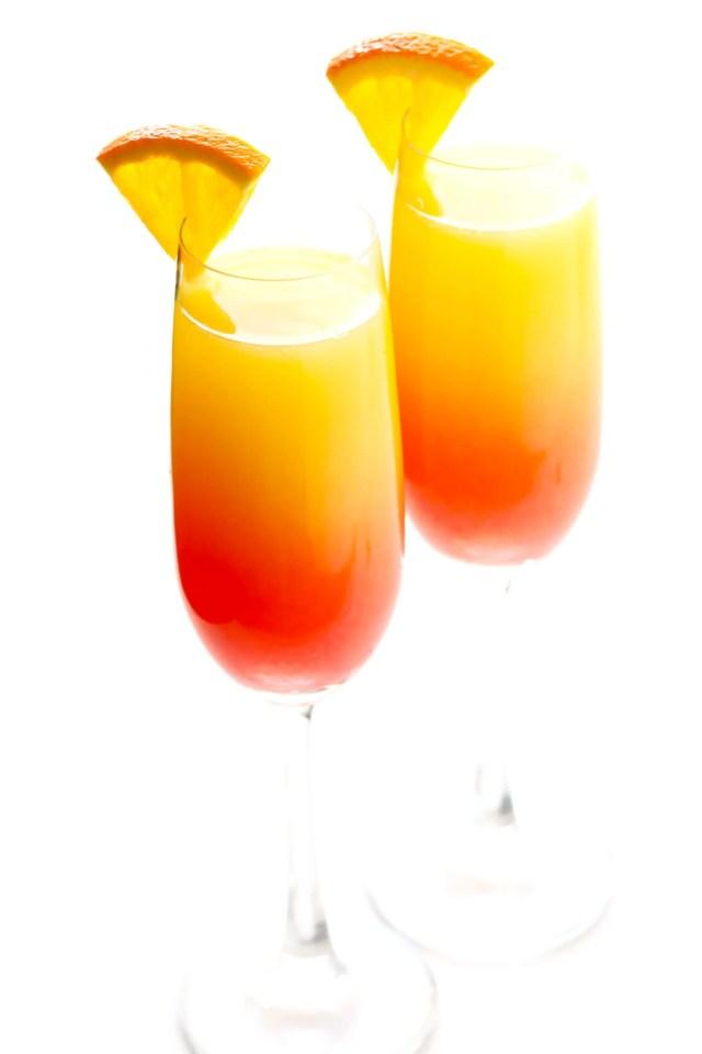 Tequila Sunrise Mimosa (or Mezcal Sunrise Mimosa)