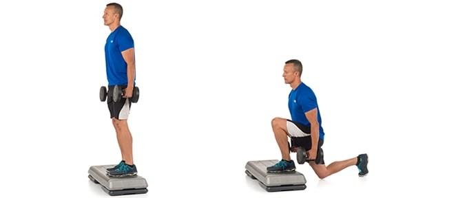 ejercicio gimnasio zancada amplia con peso