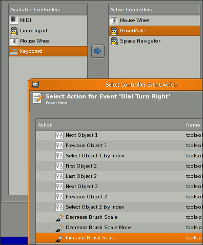 Mapping actions to device events