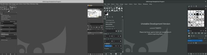 Interfaces GIMP 2.10.22 e 2.99.2 lado a lado
