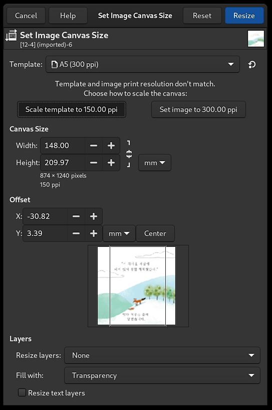 Seletor de modelo na caixa de diálogo Tamanho da tela - GIMP 2.99.6