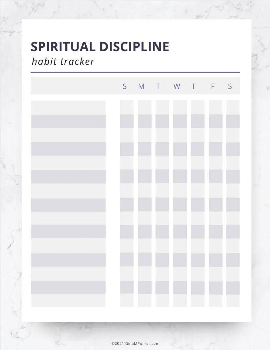 Spiritual discipline habit tracker