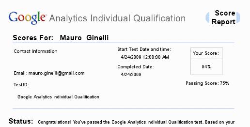 Google Analytics Individual Qualification - risultato (94%)