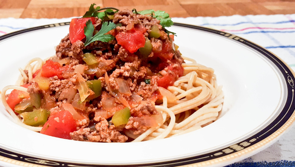 Healthy Meat Sauce and Whole Wheat Spaghetti