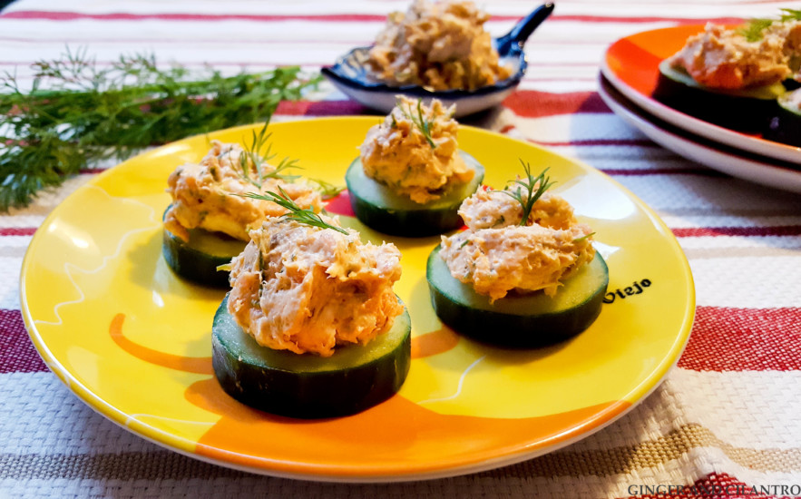 St. Patrick's Deviled Salmon Cucumber Rounds