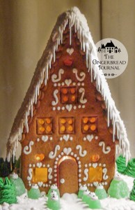 gingerbread house Christmas lighted