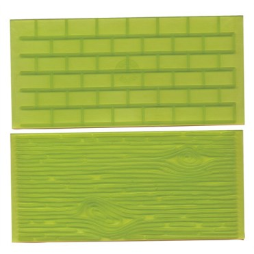 FMM Impression Mat Set 1 Wood Grain and Brick