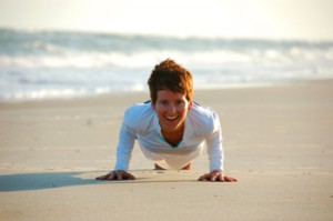 "Yogic ""Push Up"" - Practicing chaturanga on the beach last summer"