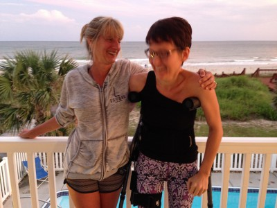 Barbara and me shaking it off and laughing it out after a tough week with a beautiful view. This week was insurmountable on my own, but with friends and family, I made it through.