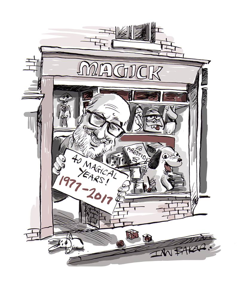 Drawing of Russell Hall, and the Magick shop, by Ian Baker