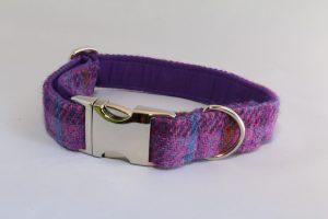 Purple Herringbone Harris Tweed Collar