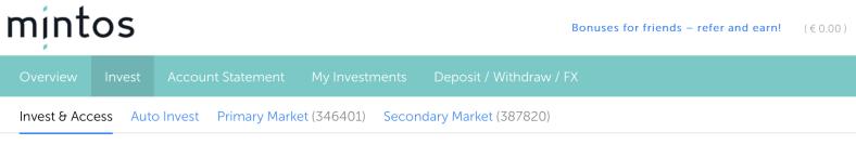 Die neue Funktion Invest & Access im Dashboard von Mintos