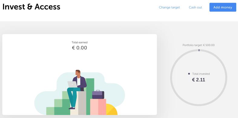 Mein verfügbares Guthaben von 2,11€ wurde direkt nach Aktivierung bei Invest & Access investiert.