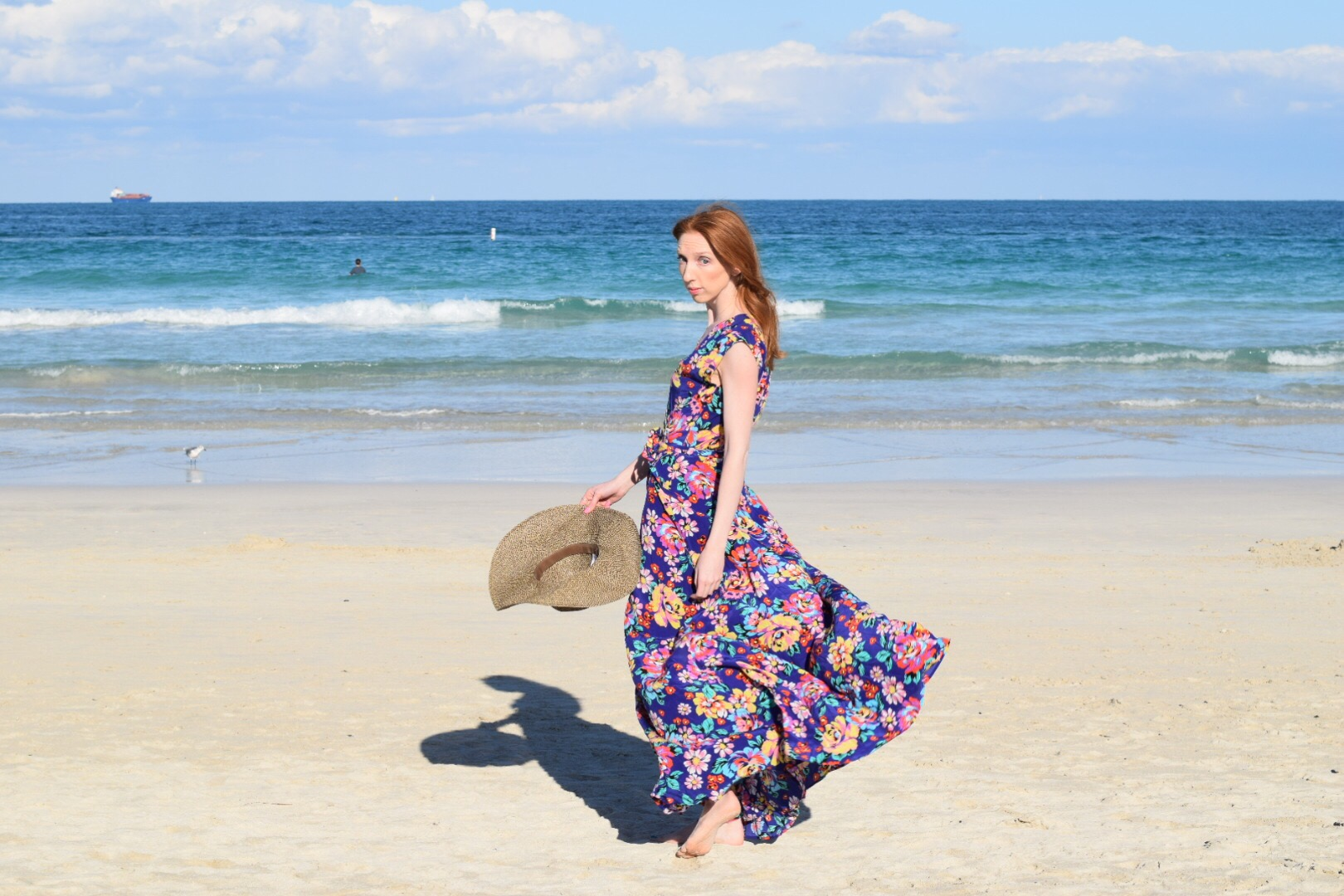 Miami beach sunset dress floppy hat
