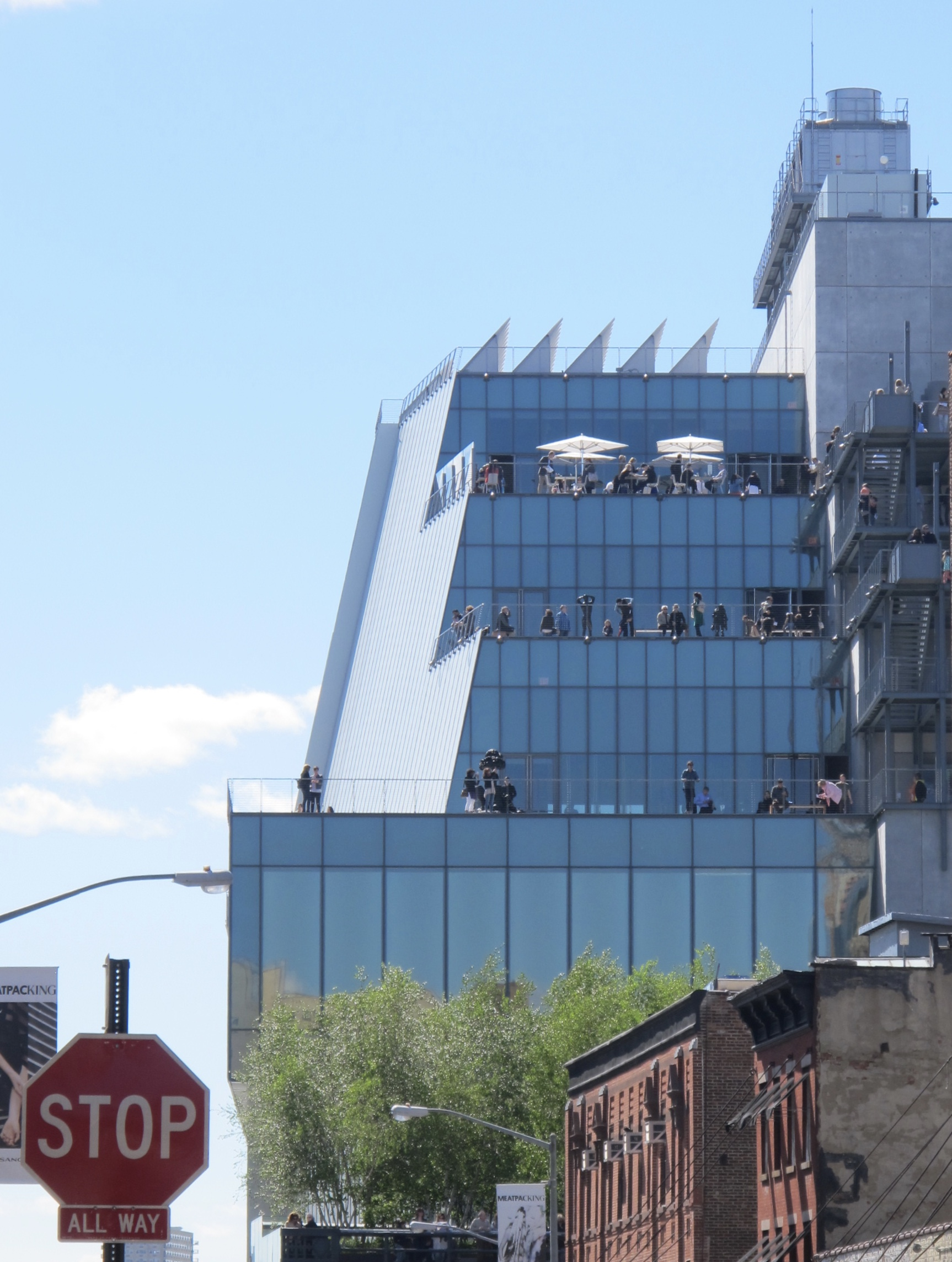 A view of the museum from Gansevoort Street. You can see the Terraces on the back of the building.