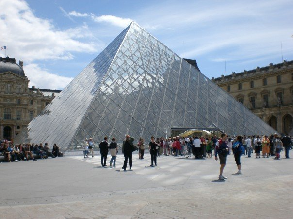I.M. Pei's iconic pyramid which now serves as the entrance to the Louvre.