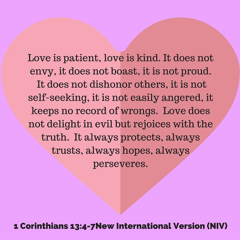 Love is patient, love is kind. It does not envy, it does not boast, it is n