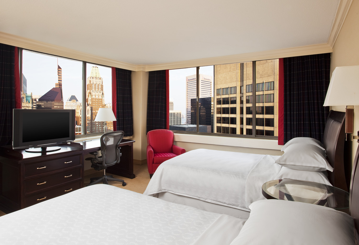 A guest room at the Radisson Baltimore Downtown - Inner Harbor.