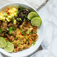 Jamaican Jerk Chicken Quinoa Bowl with Pineapple Salsa & Fried Bananas