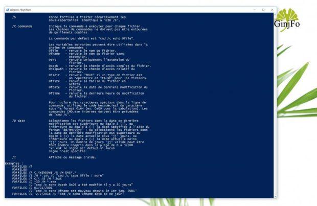 Windows 10 - Commande ForFiles
