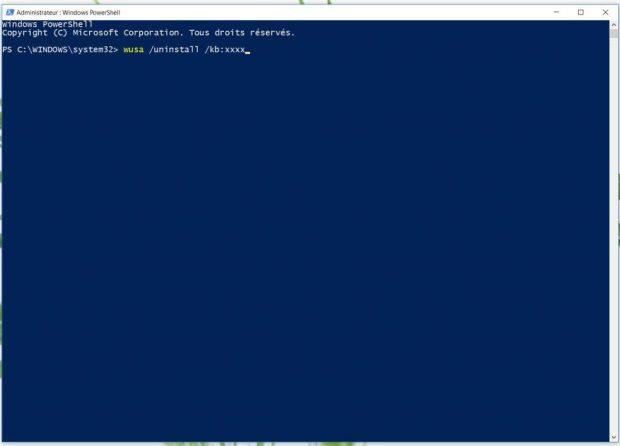 PowerShell, désinstallation d'une mise à jour en ligne de commande