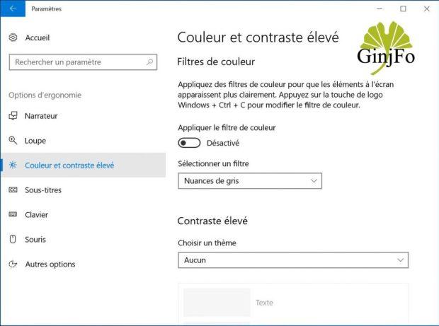 Windows 10 - Couleur et contraste élevé