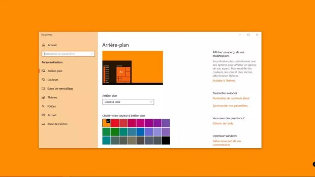 Windows 10 April 2018 Update - l'arrière-plan