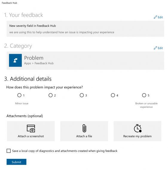 Windows 10 – Application Feedback Hub