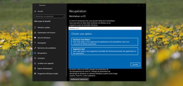 Windows 10 v1809 – Fonction de réinitialisation du PC