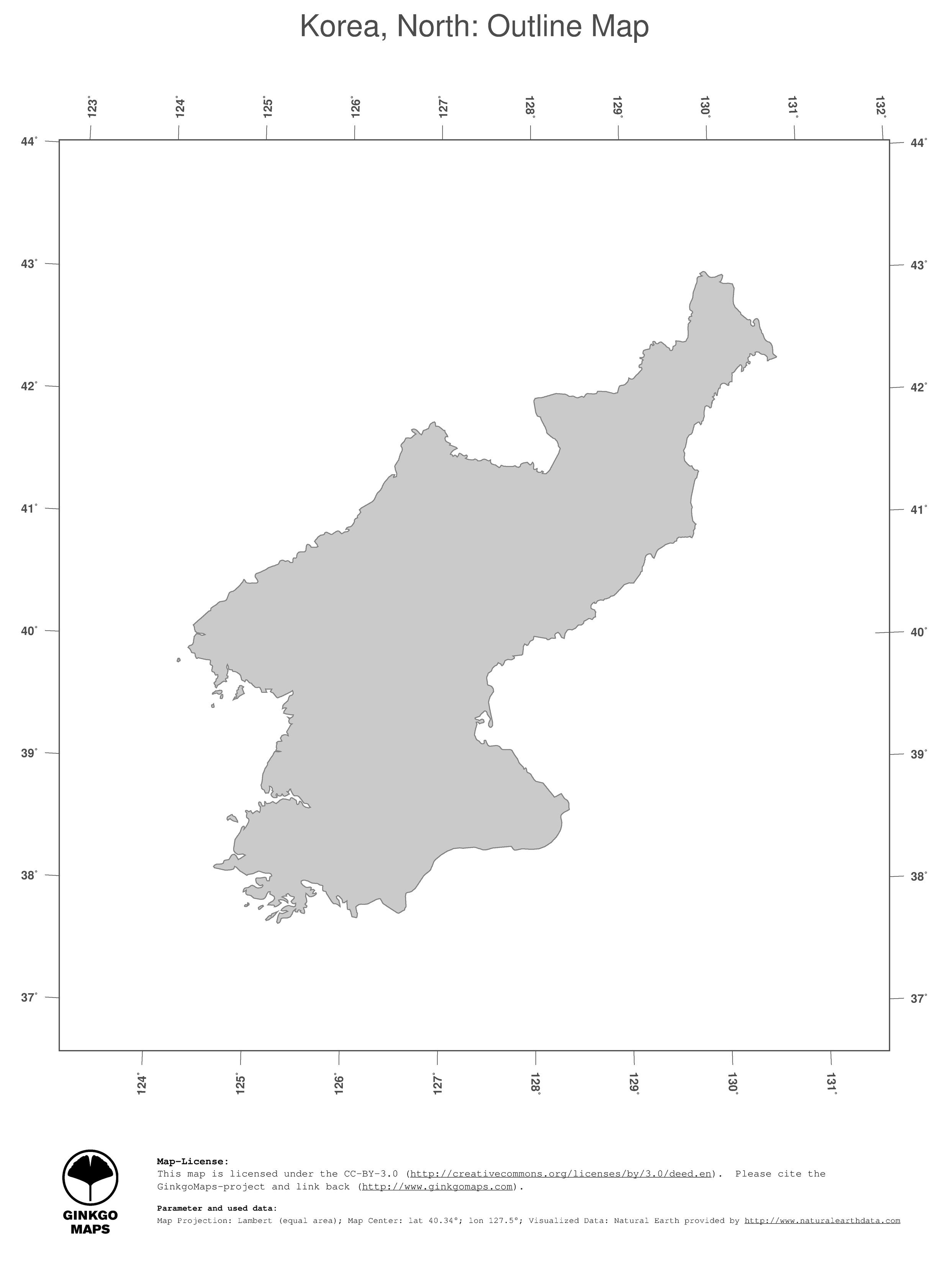 Map Korea North Ginkgomaps Continent Asia Region Korea North