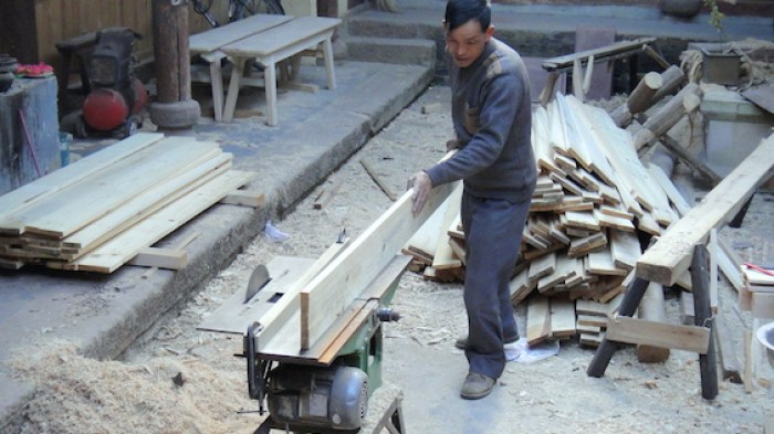 Notching floor board tongue and groove