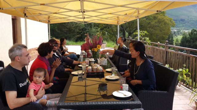 Sunday Brunch on the terrace, Pear Orchard Temple teahouse, Shaxi Yunnan China