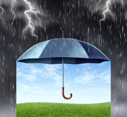 Drawing of a black ubrell, surrounded by stormy, dark sky with lightning. Underneath the umbrella is blue sky and a clear, green field.
