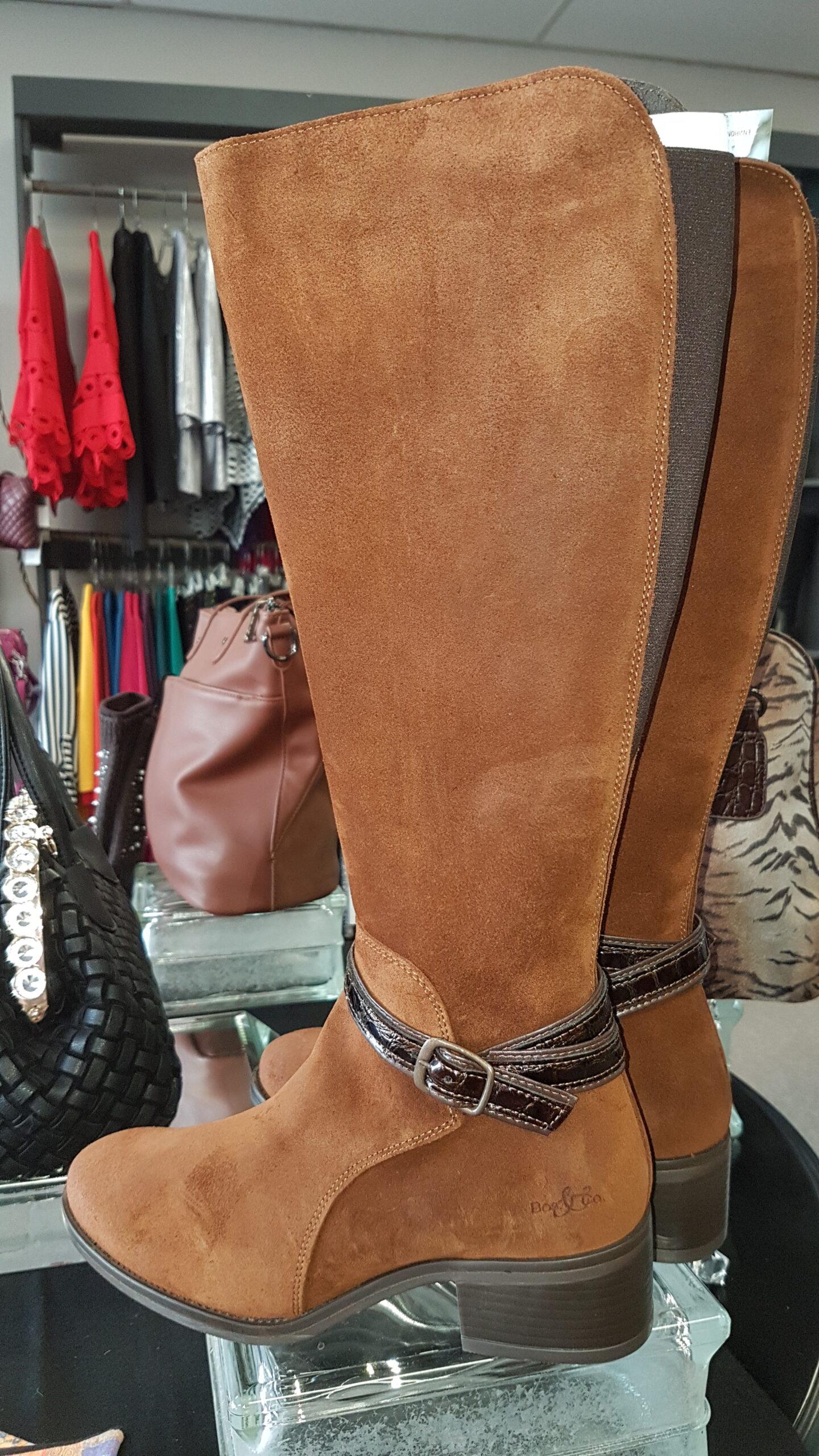 Side view of Suede Knee High Waterproof Boots