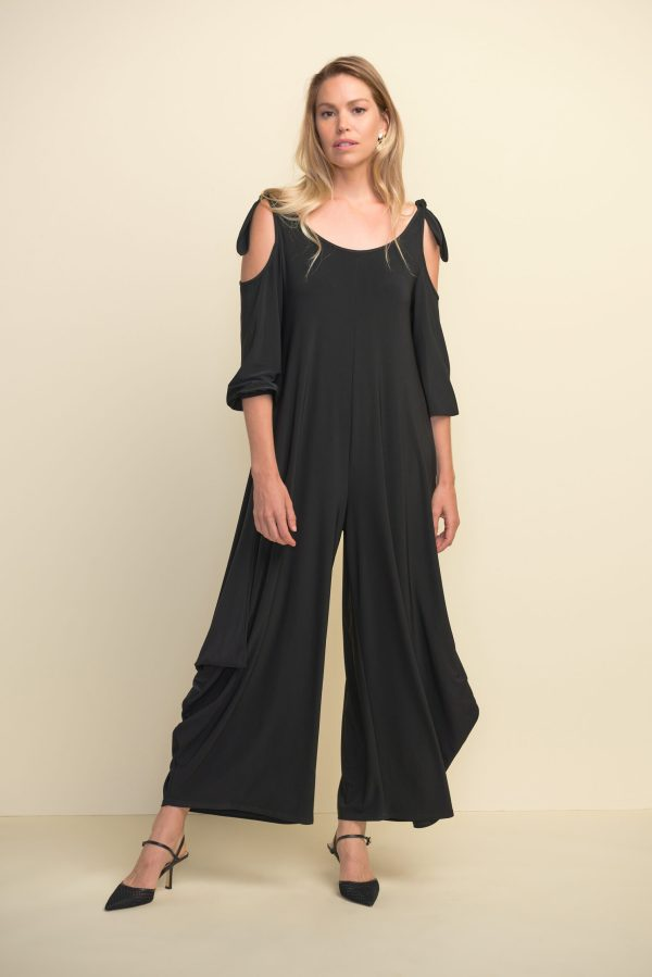 Full front view of Joseph Ribkoff black jumpsuit style #211122