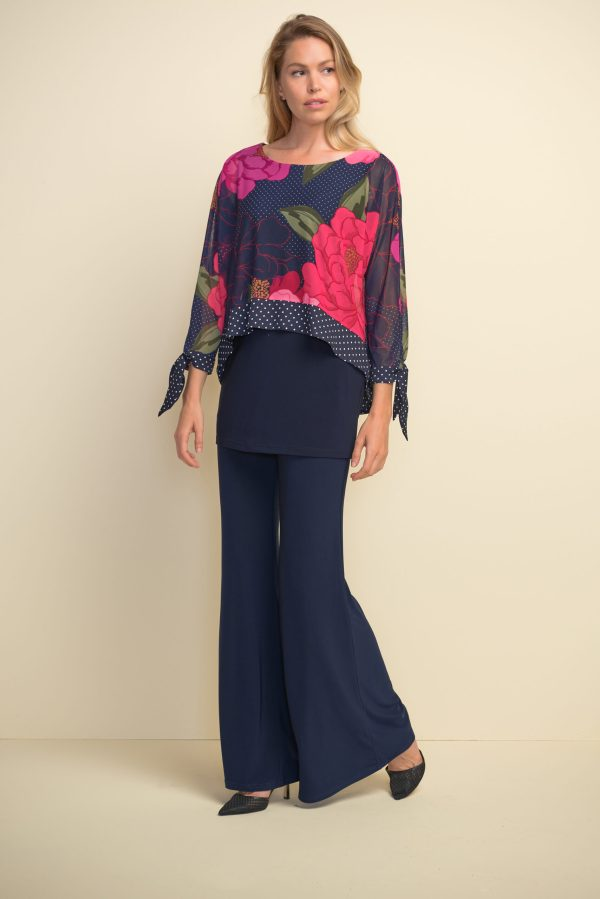 Front full view of Joseph Ribkoff Pink Floral Top #211278