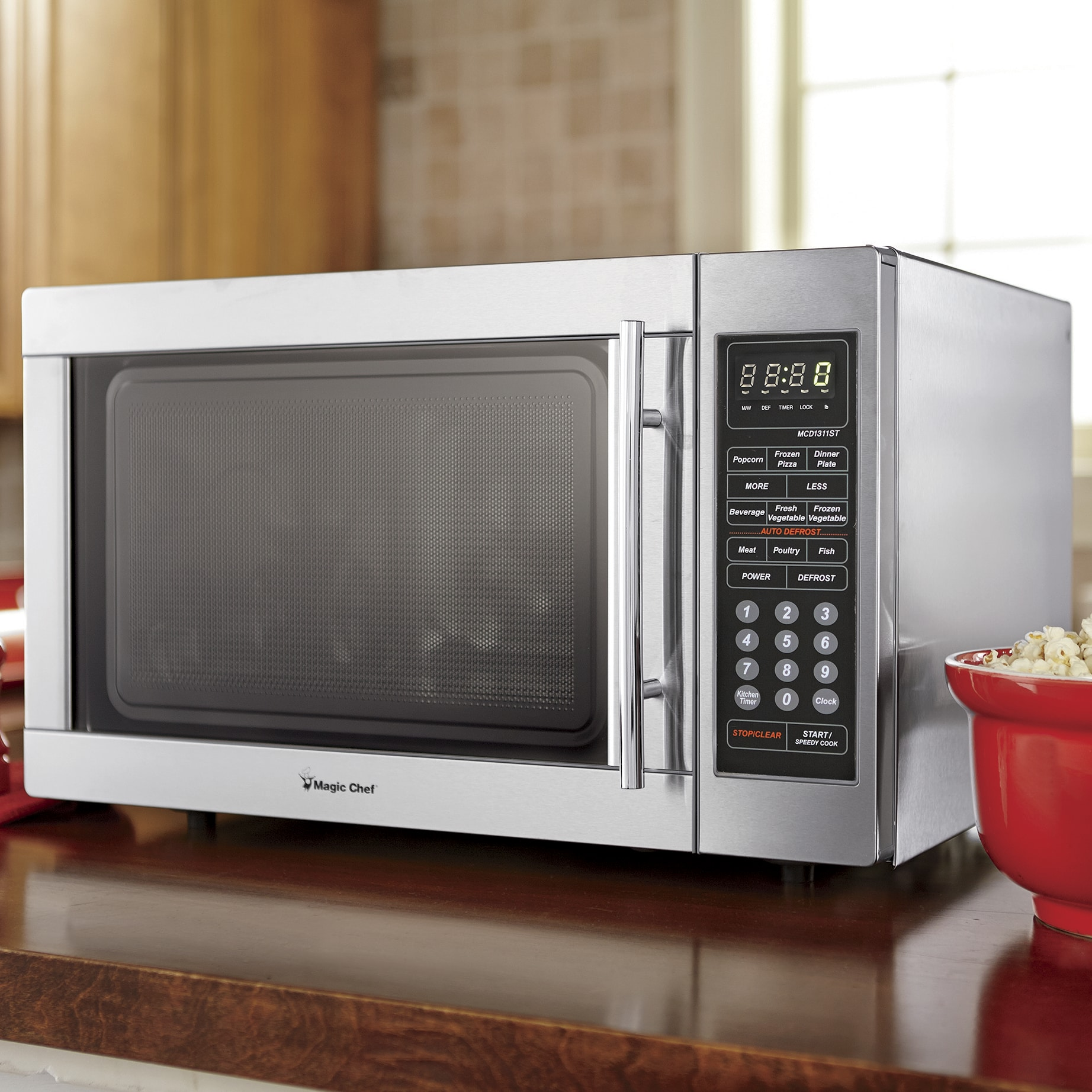 magic chef 1 3 cu ft stainless steel microwave