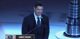 Sidney Crosby gives speech at Rimouski retirement ceremony