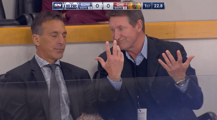 Wayne Gretzky and Chris Chelios captured by Sportsnet cameras
