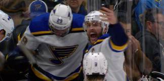 Alex Pietrangelo reacts to Jay Bouwmeester collapsing on the Blues bench